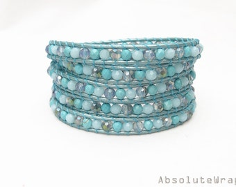 Turquoise stone wrap bracelet with crystal on leather cord, sky blue