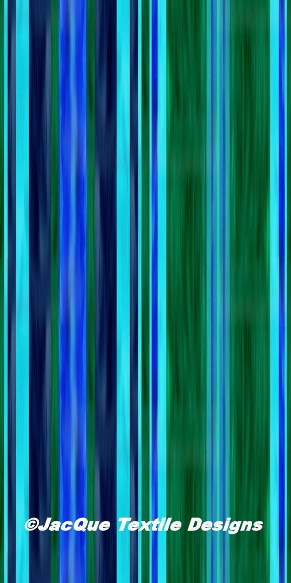 Hand Created Stripes Blue Indigo Green Velvet Upholstery Fabric Fiber Art