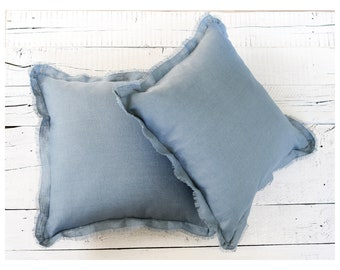 Blue throw pillows set of 2. Raw edge sustainable pillow covers, decorative sofa cushions for rustic home decor. Custom size.