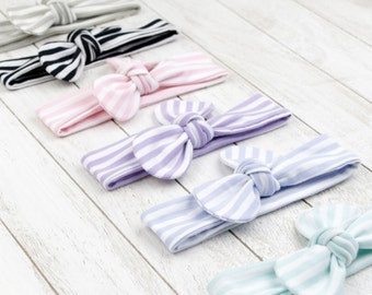 Baby headband knotted bow loop topknot black and white striped hair accessory baby girls - Bellabuu