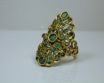 Antique Emerald 18k Gold Ring. Byzantine, Etruscan Style Jewelry. Size 9 1/4. Super Ornate natural Emerald jewelry.