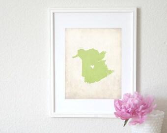 New Brunswick Canada Personalized Map Art 8x10 Print