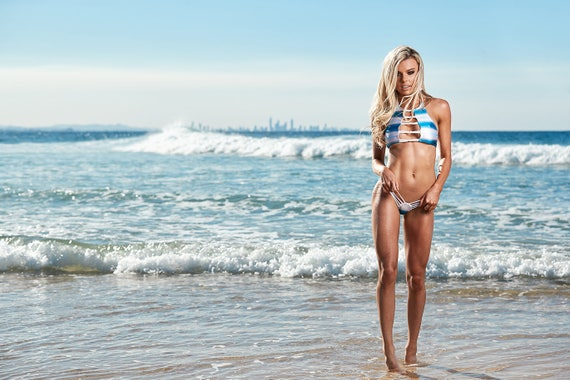 MissManeater ***NEW*** SHARKskin FIXED strap front boutique bikini crop top