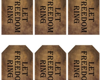 grungy tag set, primitive tags, craft supplies, scrapbooking - Let Freedom Ring - digital PDF & jpeg - LFRGT01