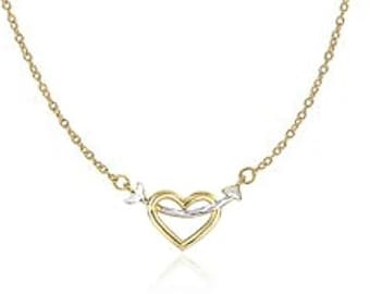 ENTWINED HEART 14K Gold ARROW Necklace Dainty Gold Heart Necklace 14K Dainty Arrow Necklace Heart And Arrow Necklace Heart Layered Necklace