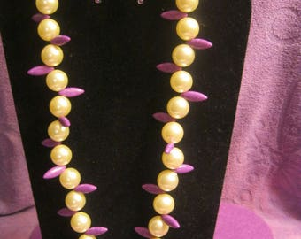 PURPLE POINTED Ovals with PEARLS Jewelry Set