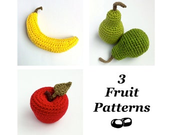 Crochet Fruit Patterns / Crochet Food Patterns / Banana Pattern / Apple Pattern / Pear Pattern