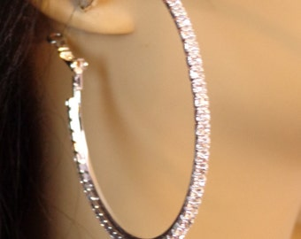 Crystal Hoop Earrings Thin Cast Silver Tone Rhinestone Hoops Earrings 2 inch hoops