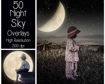 50 Night Sky Overlays - Starry Sky Textures - Moon Overlays - Digital Background - Photography Overlay - Stars - Milky Way - Magic Night