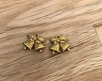 5 Gold tone Christmas bell charms 15mm x 18.5 mm