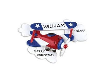 Biplane Personalized Chirstmas Ornament - Biplane Ornament - Hand Personalized Christmas Ornament for Plane Lover