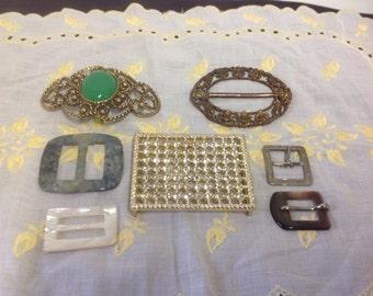 Lot of 7 Vintage Belt Buckles  DIY Craft rhinestones plastic Germany
