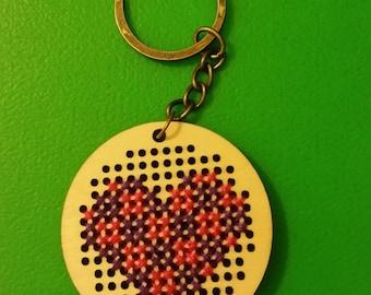 Cross Stitch Colored Heart Key Chain