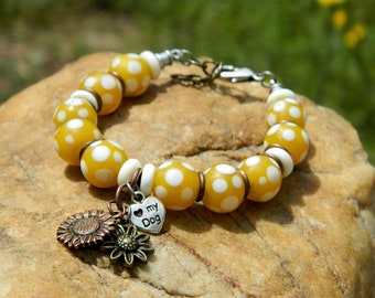 RESERVED Yellow Polka Dot Charm Bead Bracelet