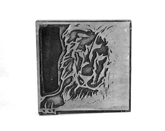 Lion Printers Block, Letterpress Printing Plate, Metal Stamp, Leo Zodiac Sign, Animal Illustration, Newspaper Supplies, Industrial Decor