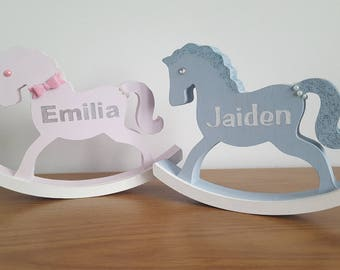 personalised wooden rocking horse. New baby gift