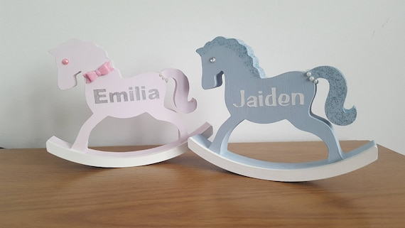 Personalised wooden rocking horse new baby gift negle Gallery