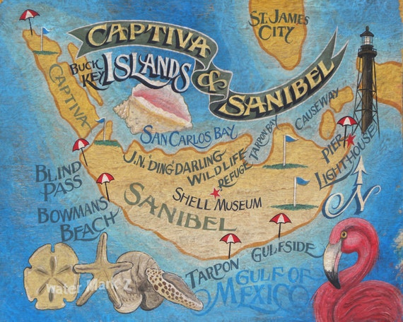 Sanibel and Captiva Island Florida beach Map Print