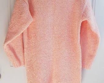Soft Oversized Plush Peach Sweater, Size Small, Beldochpopper, 90's