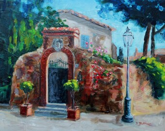"Tuscany Italian Landscape Portrait, Italy Tuscan Original Oil Painting, Old Gate, Impressionist, Mediterranean Landscape,11""x14"" Gift Item,"