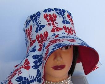 """Floppy Brim Ladies Sun Hat - Lobsters - Summer Hat - Sun Hat for Women - 23"""" Around - Made in Maine - 4"""" brim"""