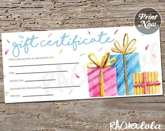 Confetti Present, Printable Gift Certificate template, Spring Birthday, Direct sales giveaway, Photography voucher, Instant digital download