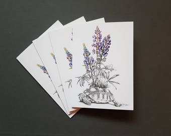 Beautiful Death Tortoise with Lupins Graphite Drawing Gift Card Print