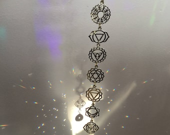 Chakra Crystal Suncatcher window hanger, Om Rainbow maker meditation room, decoration