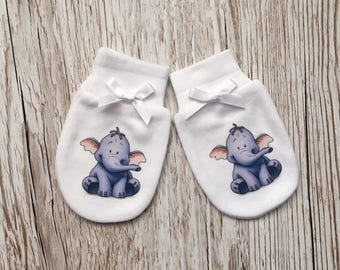 """Winnie the Pooh inspired  'heffalump"""" Baby Scratch Mitts/mittens"""
