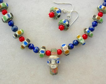 Charming Small Phoenician Face Pendant, Old Nepalese Glass Beads, Lapis & Coral Beads, Faces Collection, Necklace Set by SandraDesigns