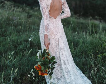 Bohemian wedding dress, Boho wedding dress, Sexy wedding dress, Long sleeve lace wedding dress, backless wedding dress, 2018 // 0080