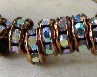12 Crystal AB Czech Rhinestone Antique Copper Rondelles, Bead Caps, 6mm Sparkly
