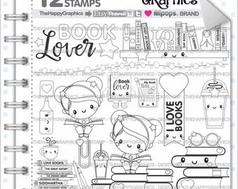 Back to School Stamp, 80%OFF, COMMERCIAL USE, Digi Stamp, Book Stamp, School Digistamp, Kawaii Stamps, Student Digital Stamps, Study, Girl