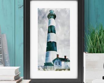 Lighthouse Art | Lighthouse Print | Lighthouse Poster | Watercolor Lighthouse | Lighthouse Wall Art | Lighthouse Painting | INSTANT DOWNLOAD