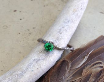 Emerald Green May Birthstone Organic Twig Ring