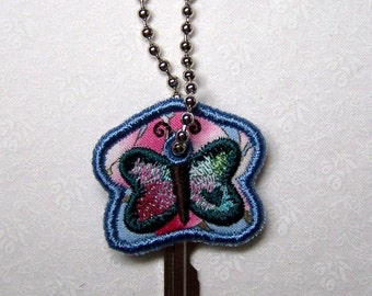 Embroidered Keychain/Keycover - Butterfly