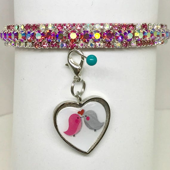 Sugarlicious Pets ™ ~Pink  Heart Valentine Love~ Crystal Rhinestone Dog Pet or Cat Safety Glitter PU Leather Collar Opt Leash USA!