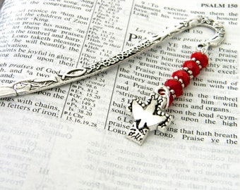 Holy Spirit Cross Bookmark with Red Glass Beads Silver Color Shepherd Hook Christian Bookmark