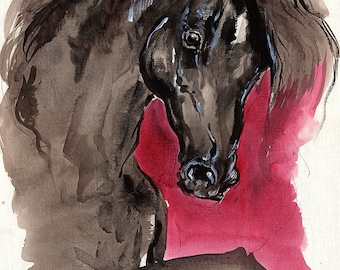 Black horse, equine art, equestrian,  original acrylic painting on paper