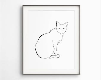 Cat Ink Drawing, Cat Illustration, Print of Cat, Sitting Cat, Black & White, Cat Decor, Animal Drawing, Cat Line Art, Printable Download