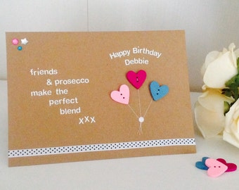Friend birthday card etsy friends prosecco quote handmade happy birthday card friend birthday cards personalised cards m4hsunfo Gallery