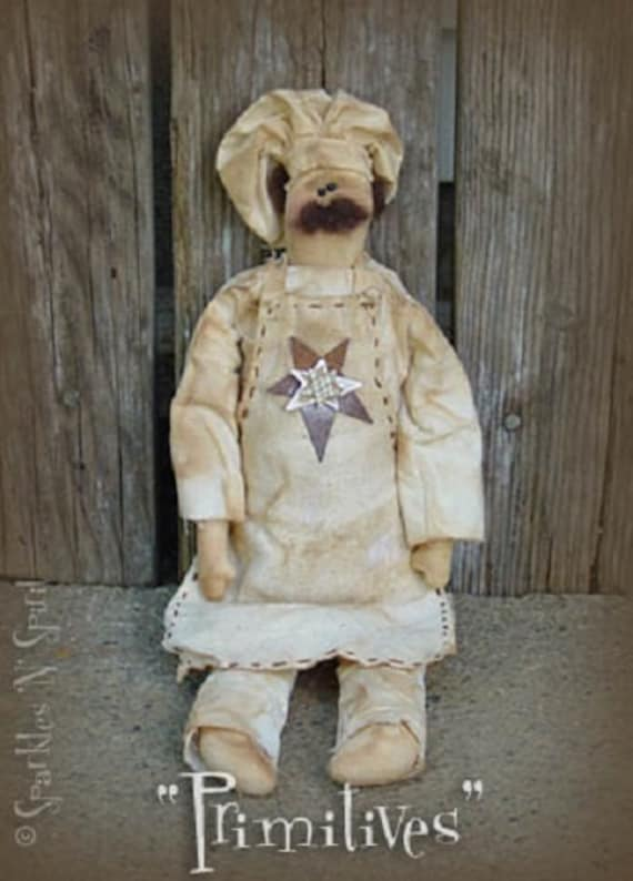 "Pattern: Francois - 18"" Primitive Chef Rag Doll"