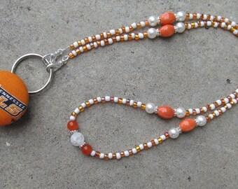Tennessee Vols ID Badge Bead Lanyard Orange & White ID Badge Holder