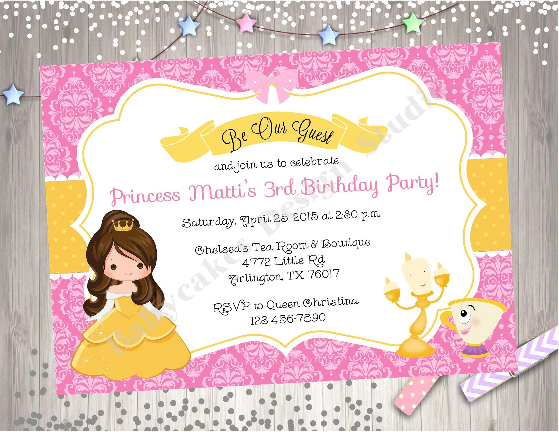 Belle Invitation belle birthday princess belle birthday
