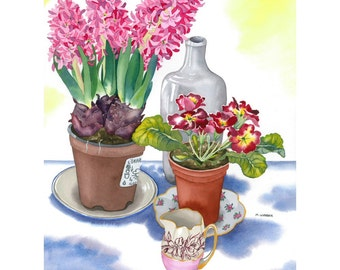 Botanical Still Life Watercolour Limited Edition Print - Pink Spring Flowers and Vintage China