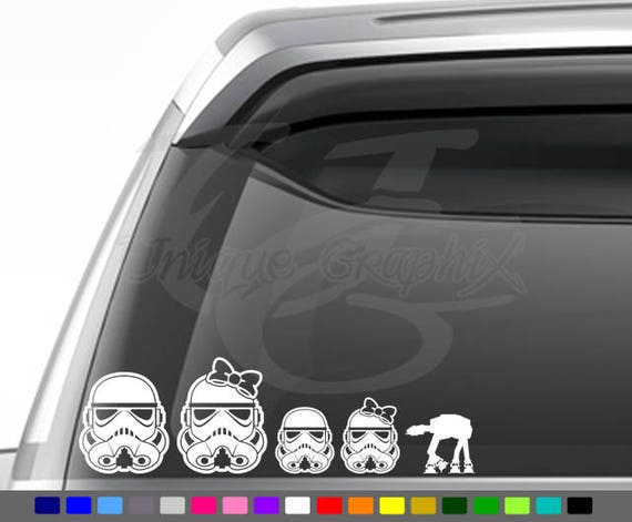 Star wars inspired storm trooper family decal window sticker