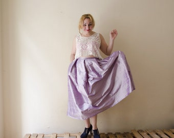 Maxi Skirt Silk Mauve Taffeta, Long Evening Skirt with Pleats and Pockets, Prom Skirt, Bridesmaids wedding
