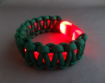 "Light-Up LED Bracelet with Paracord Weave-For 8"" Wrist or Smaller"