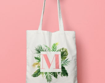 Personalised initial tropical leaves tote bag - bridesmaid gifts - wedding party gifts - bridal tote bags