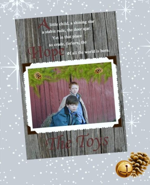 Rustic Barnwood Photo Christmas Card